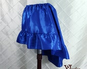 """Steampunk High Low Mini Cecilia Skirt -- Bright Royal Blue Taffeta -- Ready to Ship -- Best Fits Up To 45"""" Waist"""