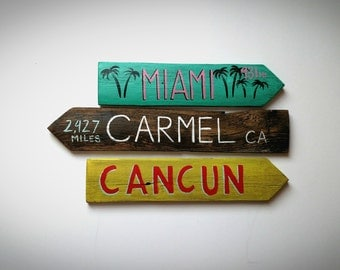 Set of 3 Custom Travel Signs - Hand Painted on Reclaimed Wood Fence Pickets - Outdoor, Garden, Vacation Signs