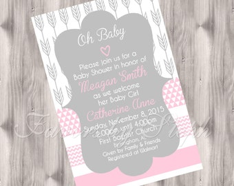 Arrow/Geometric Baby Shower Invitations PRINTED qty 30
