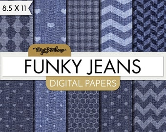 Denim Digital Paper Pack- Blue Jeans -  Digital Scrapbook- 8.5 x 11 paper -Commercial use included - Funky Jeans