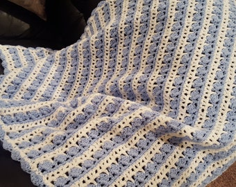 Baby Blue And White Afghan Blanket Crocheted Great For a Little Boy  Bed Stroller Car Seat 46 x 34