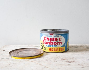 Vintage Coffee Can Metal Coffee Tin Chase and Sanborn Vintage Coffee Tin with Lid Blue Red Yellow Coffee Can