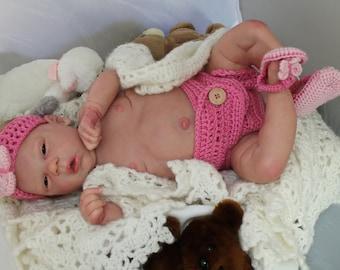 Reborn Baby Elyse - Cassie Brace - Custom Order - I Art Glass Eyes - Slumberland Mohair