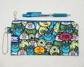 "Padded Zipper Pouch / Pencil Case / Cosmetic Bag Made with Cotton Oxford Fabric ""Monster's University"""