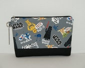 "Large Padded Zipper Pouch/ Cosmetic Case /Pencil Case with Pocket Made with Japanese Cotton Oxford Fabric ""Star Wars - Grey"""