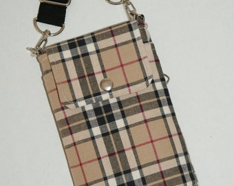 """2 Way Cell Phone Cross Body Bag / Hook Bag with 2 Exterior Pockets Made with Japanese Cotton Fabric """"Plaid - Beige"""""""