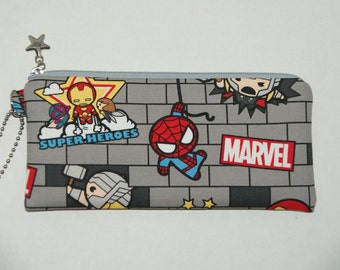"Padded Zipper Pouch / Pencil Case / Cosmetic Bag Made with Japanese Cotton Oxford Fabric ""Marvel Tsum Tsum - Gray"""