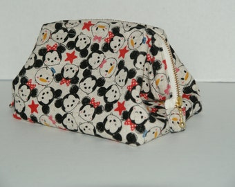 """Wire Frame Zipper Pouch With Pocket / Padded Cosmetic Bag Made with Japanese Cotton Linen Fabric """"Tsum Tsum -Cotton Linen #3"""""""