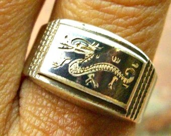 Vintage Silver Niello Etched Dragon Ring