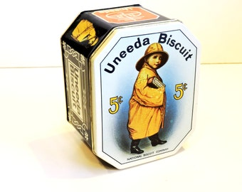 Uneeda Biscuit Tin, Vintage Advertising Reproduction Metal Storage Container, National Biscuit Company, Nabisco, Home Decor itsyourcountry