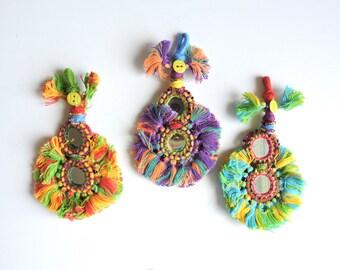 3 pc Large Mirrored Tassels, Colorful Banjara Gypsy Tassels, Indian Kutchi Tassels, Rajasthan India, Decorative Jewelry Making Purse Charm