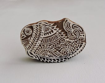 Fish Stamp: Clay Stamp, Figural Animal Stamp, Textile Stamp, Indian Printing Block, Hand Carved Wood Block Stamp, Wooden Mehndi Stamp, India