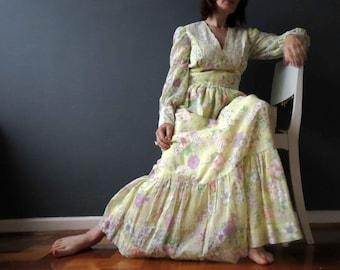 70s Yellow Purple Watercolor  Floral Maxi Dress Boho Small Lace Cotton Lawn