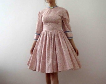 60s Liberty Print Pastel Pink Blue Cotton Dress With Cameo Brooch