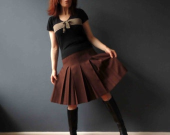 60s 70s Wool Pleated Skirt Chocolate Brown Preppy Brown Extra Small Petite