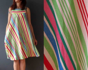 60s 70s Candy Stripe Tent Sun Dress Terry Toweling Cloth Small Medium