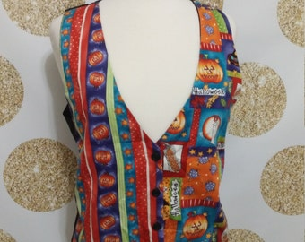 Throwback Cheezy Halloween Cotton Vest.  Ugly Vest or Sweater Party.  Holiday themed