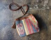 Large Kilim PURSE / Vintage Southwestern Tote / leather Tassel and Textile Handbag