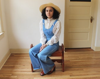 DENIM Overalls / 1970's Bellbottoms Jumpsuit / Vintage Extra Small Light Wash Jean One Piece