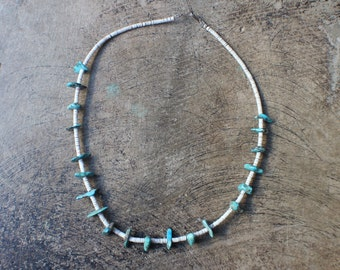 Turquoise Heishi Bead NECKLACE / 1970's Southwest Jewelry / Vintage Turquoise Necklace