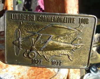 Vintage Lindbergh Commemorative Tour Airplane Belt Buckle 1977