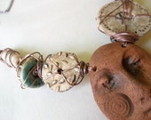 RESERVED for santafeanne only please~face with ceramics by happyfishthings copper armature neckpiece