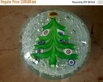 ON SALE Vintage Murano Glass Christmas Tree Paperweight Millefiori Art Glasswork Gift Idea