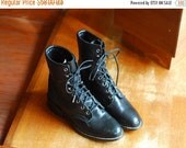SALE / vintage black leather Laredo roper boots / size 6.5