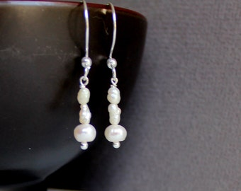 Freshwater Pearls Sterling Silver Jewelry Earrings - Free U.S Shipping-Birthday -Anniversary