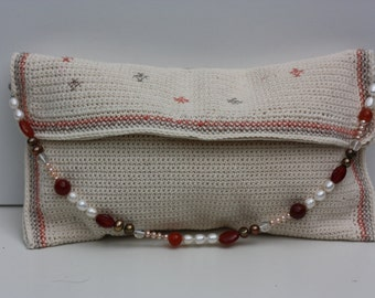 evening clutch in soft colors with real pearl and stone chain