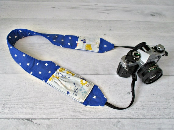 Padded Cross Body Camera Strap | Cobalt Blue Strap with Wildflower Lens Cap Pockets | Shaped for Comfort