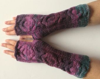 Fingerless Gloves wrist warmers Violet Purple Blue Burgundy Green knit