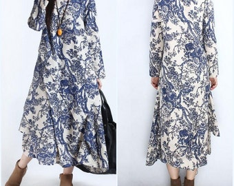 womens loose fitting Cotton and linen Maxi Dress Women Robe gown