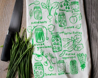 Flour Sack Tea Towel - Canning  - Hand Printed Original illustration - veggies, garden, farm, nature, pickles, home