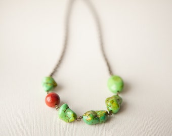 Apple Green Necklace, Bohemian Necklace, Red Necklace, Boho Necklace,  Chartreuse Necklace, Bohemian Jewelry, Bronze Jewelry, Trending