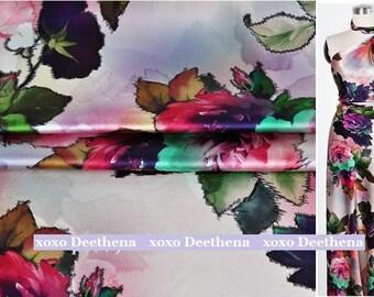 Stretchy Silk Satin Fabric , pink-purple rose fashion design silk fabric supplies
