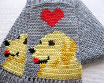 Golden Retriever Scarf. Grey crochet scarf with red hearts and retriever dogs. Knit dog scarf