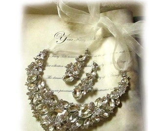 Wedding jewelry set, Bridal necklace and earrings, vintage inspired rhinestone bridal necklace statement, crystal jewelry set