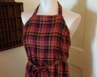 Dress, Wraparound Dress, Plaid Dress, Halter Dress, Hippie Dress, Retro Dress, Festival Clothes, Wrap Around Dress, Wrap Skirt, Costume