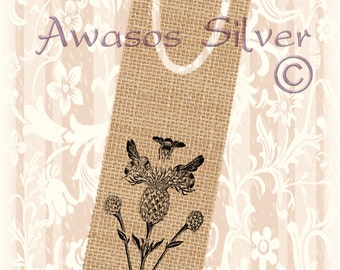 Metal bookmark with high quality printed original images. Bees and Thistles bookmark. High quality metal bookmark.