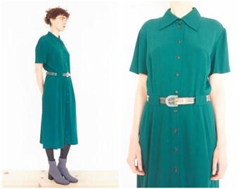 80s Forest Green Pleated Short Sleeve Shirt Dress