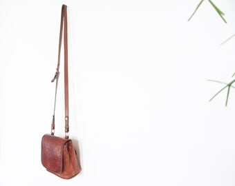 90s Brown Leather Cross-Body Boho Purse