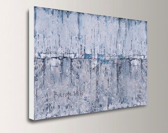 grey art, Abstract painting large canvas acrylic blue grey painting oil wall fine home interior bedroom decor palette knife custom visi