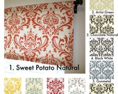 Damask Valance Traditions Sweet Potato, Red, Yellow, Grey, Village Blue, Black, Gunmetal, Spa Blue, Lipstick, Choose Your Size & Color