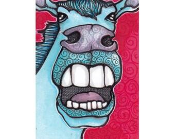 Maximillian Likes Opera ACEO Original Art Card