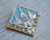Vintage Soviet Latvian aluminum badge,pin.