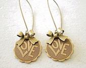 Love Earrings/Bow Earrings/Love Jewelry/Wedding Earrings/Bridesmaid Earrings/Love Earrings/Bohemain Wedding Earrings/Valentines Day Gift