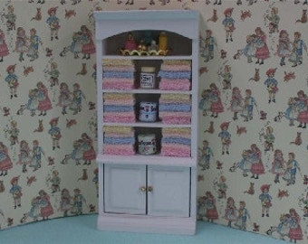 Dolls House Miniature White Cupboard Mixed Towels