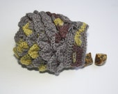 Scale Dice bag moss stone grey pouch / crocodile stitch