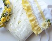 M2M Lemon Meringue Dress - Baby Bonnet - Newborn Photo Prop - Vintage Inspired Prop - Baby Hat - Newborn Bonnet